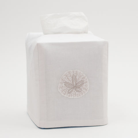Sand Dollar<br>Tissue Box Cover - White Cotton