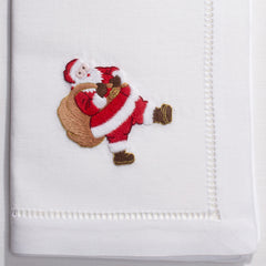 Santa<br>Napkin - White Cotton
