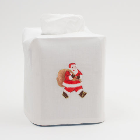 Santa<br>Tissue Box Cover - White Cotton