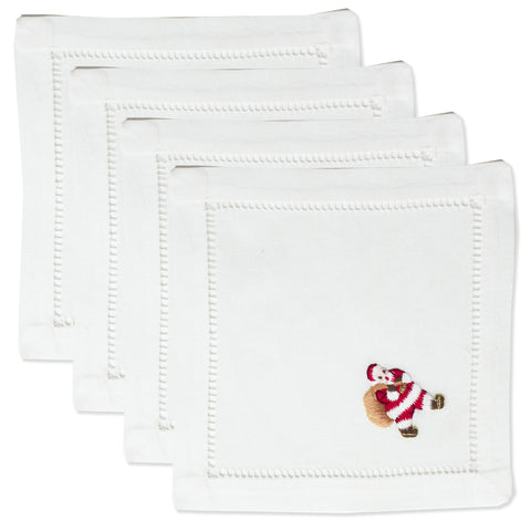 Santa<br>Cocktail Set - White Cotton