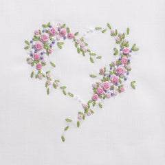 Scatter Flower Heart<br>Hand Towel - White Cotton