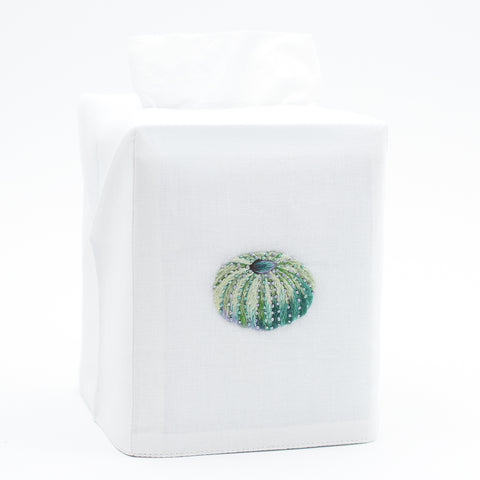 Urchin Teal<br>Tissue Box Cover - White Cotton