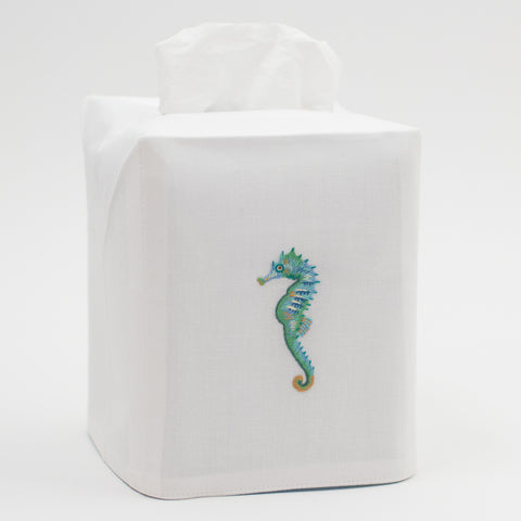 Seahorse Aqua<br>Tissue Box Cover - White Cotton