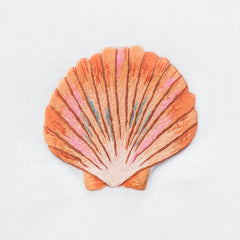 Shell Scallop Blush Towel<br>Hand Towel - White Cotton