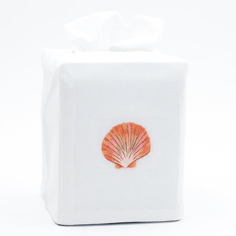 Shell Scallop Blush<br>Tissue Box Cover - White Cotton