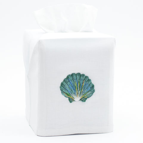 Shell Scallop Teal<br>Tissue Box Cover - White Cotton