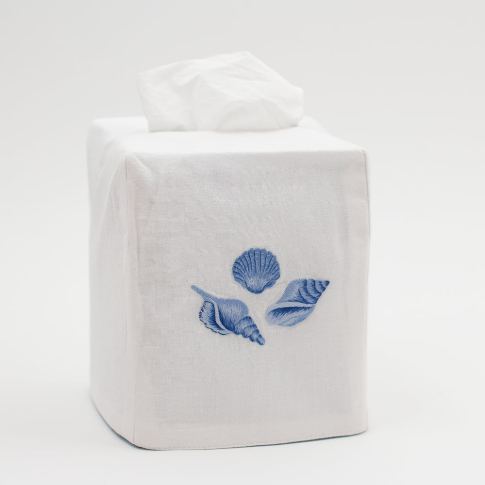Shell Set Indigo<br>Tissue Box Cover - White Cotton