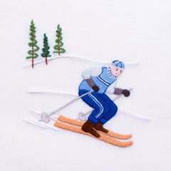 Skier Jack<br>Hand Towel - White Cotton