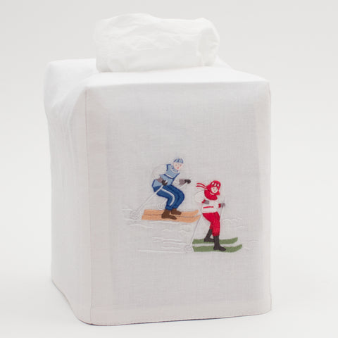 Skiers<br>Tissue Box Cover - White Cotton