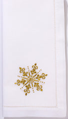 Snowflake Gold<br>Napkin - White Cotton