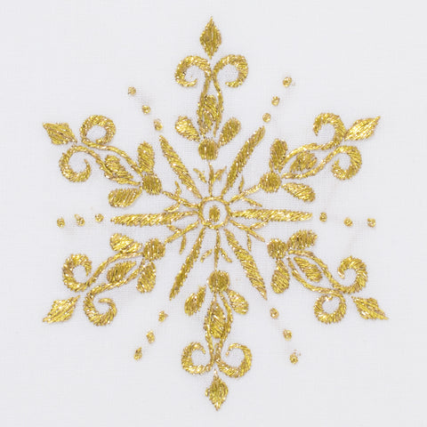 Snowflake Gold<br>Hand Towel - White Cotton