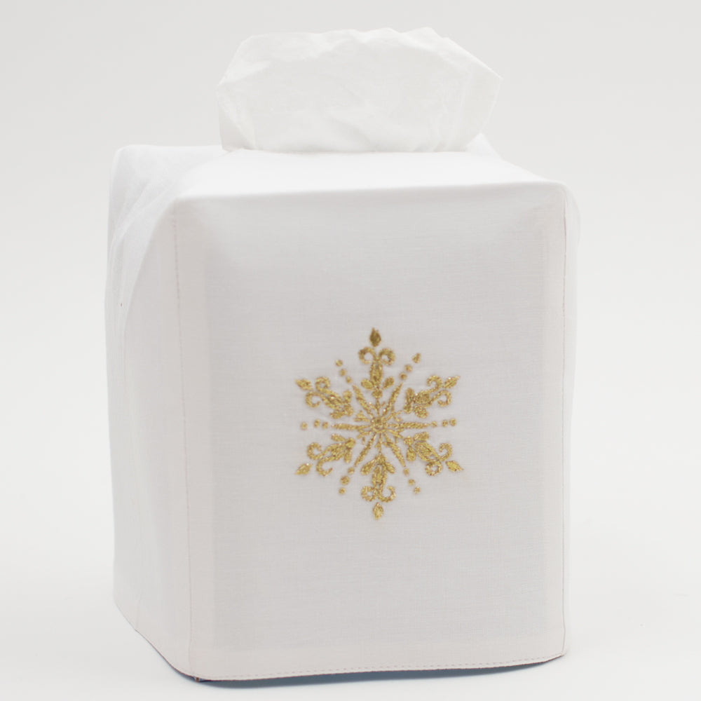 Snowflake Gold<br>Tissue Box Cover - White Cotton