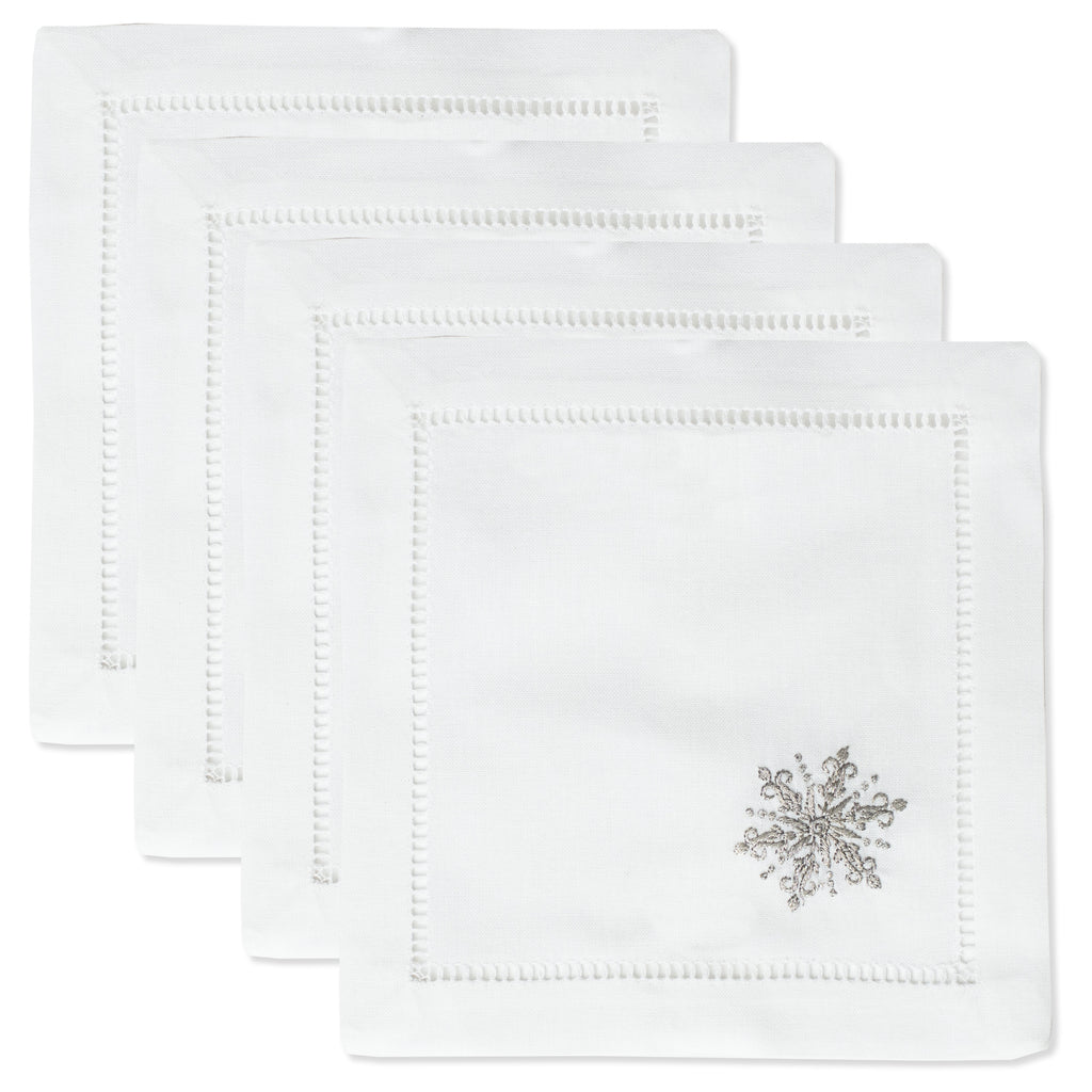 Snowflake Silver<br>Cocktail Set - White Cotton
