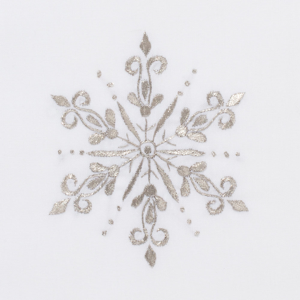 Snowflake Silver<br>Hand Towel - White Cotton