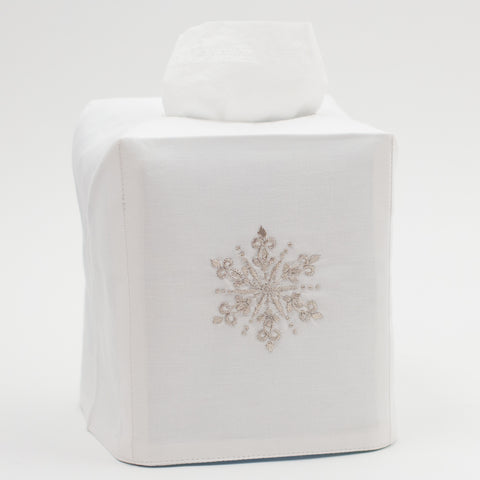 Snowflake Silver<br>Tissue Box Cover - White Cotton