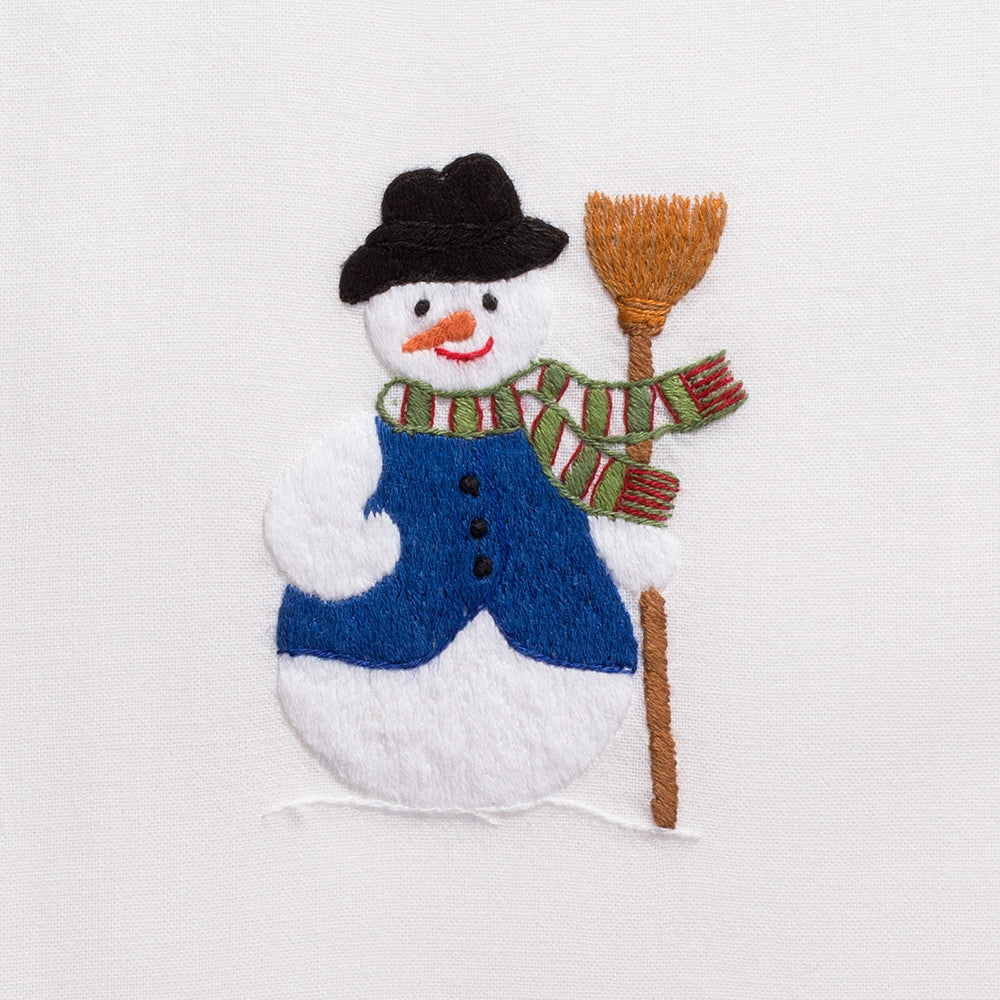Snowman<br>Hand Towel - White Cotton
