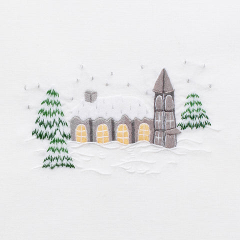 Snowy Chapel<br>Hand Towel - White Cotton