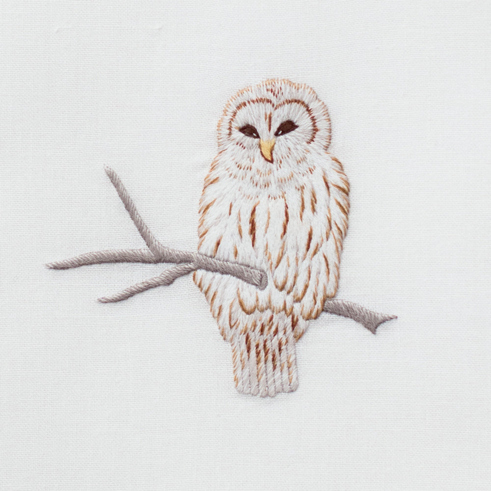Snowy Owl<br>Hand Towel - White Cotton