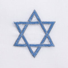 Star of David Knot<br>Hand Towel - White Cotton