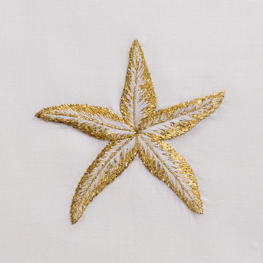 Starfish Gold<br>Hand Towel - White Cotton