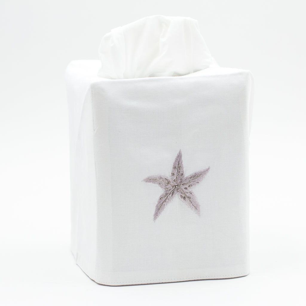 Starfish Luxe<br>Tissue Box Cover - White Cotton