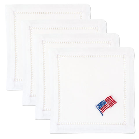 Stars & Stripes<br>Cocktail Set - White Cotton