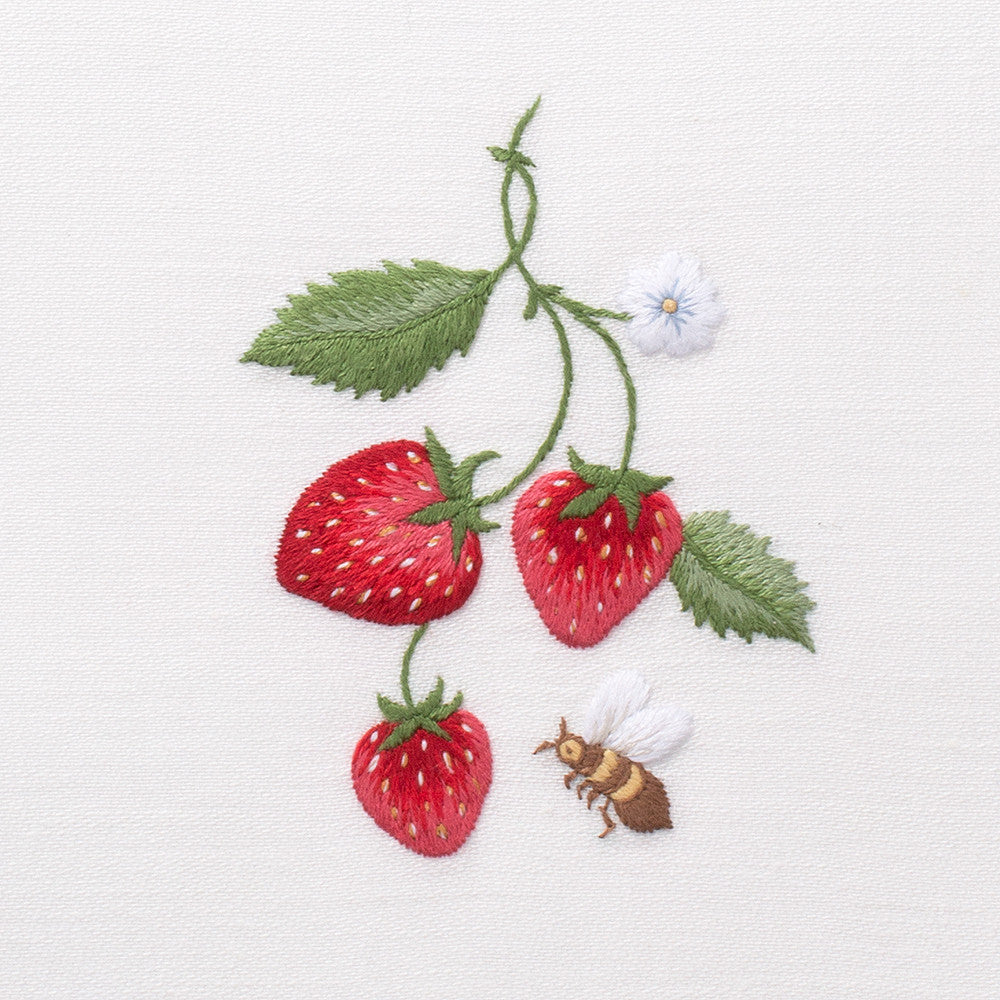 Strawberries & Bee<br>Everyday Towel - White Cotton