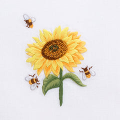 Sunflower & Bees<br>Hand Towel - White Cotton