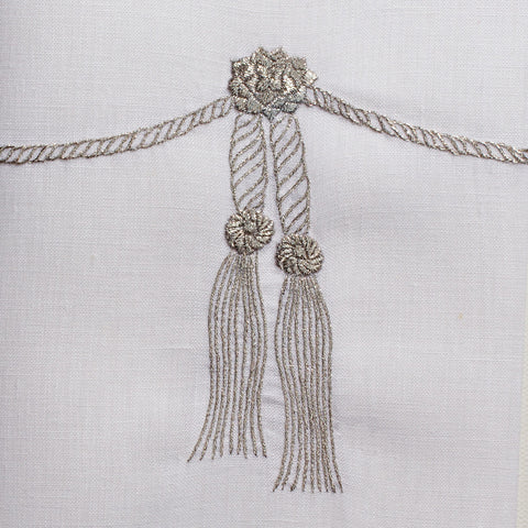 Tassel Silver<br>Hand Towel - White Linen<br> 48 In Stock