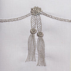 Tassel Silver<br>Hand Towel - White Linen<br> 34 In Stock