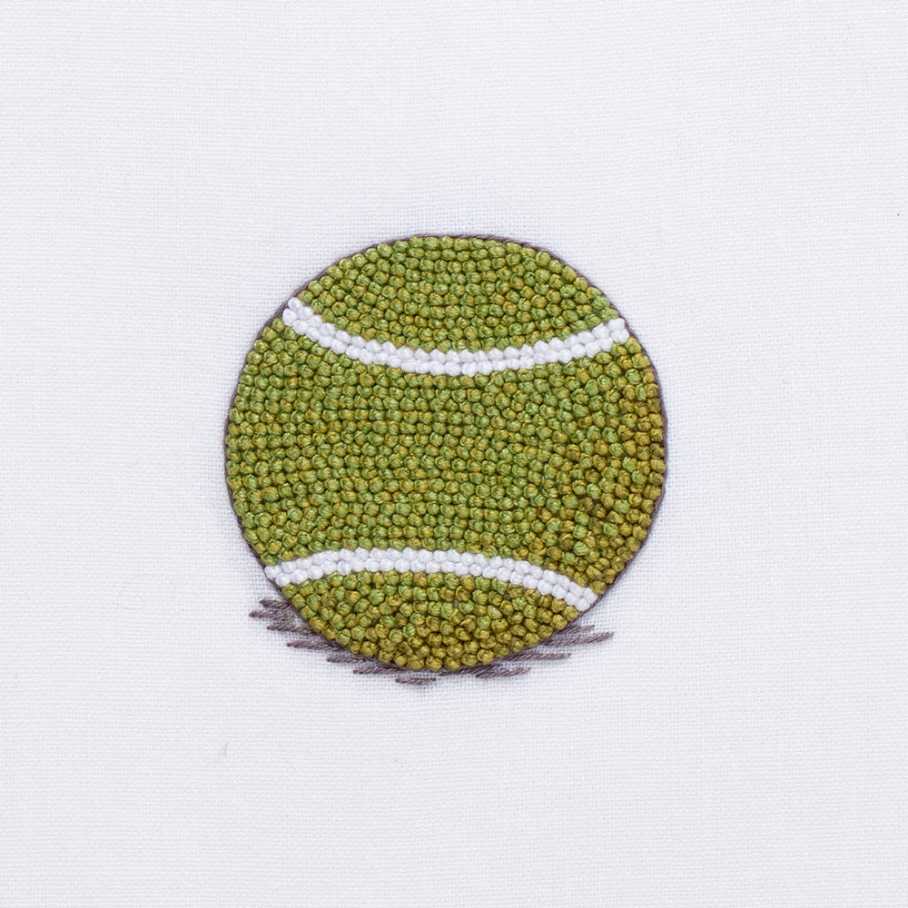 Tennis Ball<br>Hand Towel - White Cotton