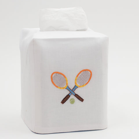 Tennis Racquets<br>Tissue Box Cover - White Cotton