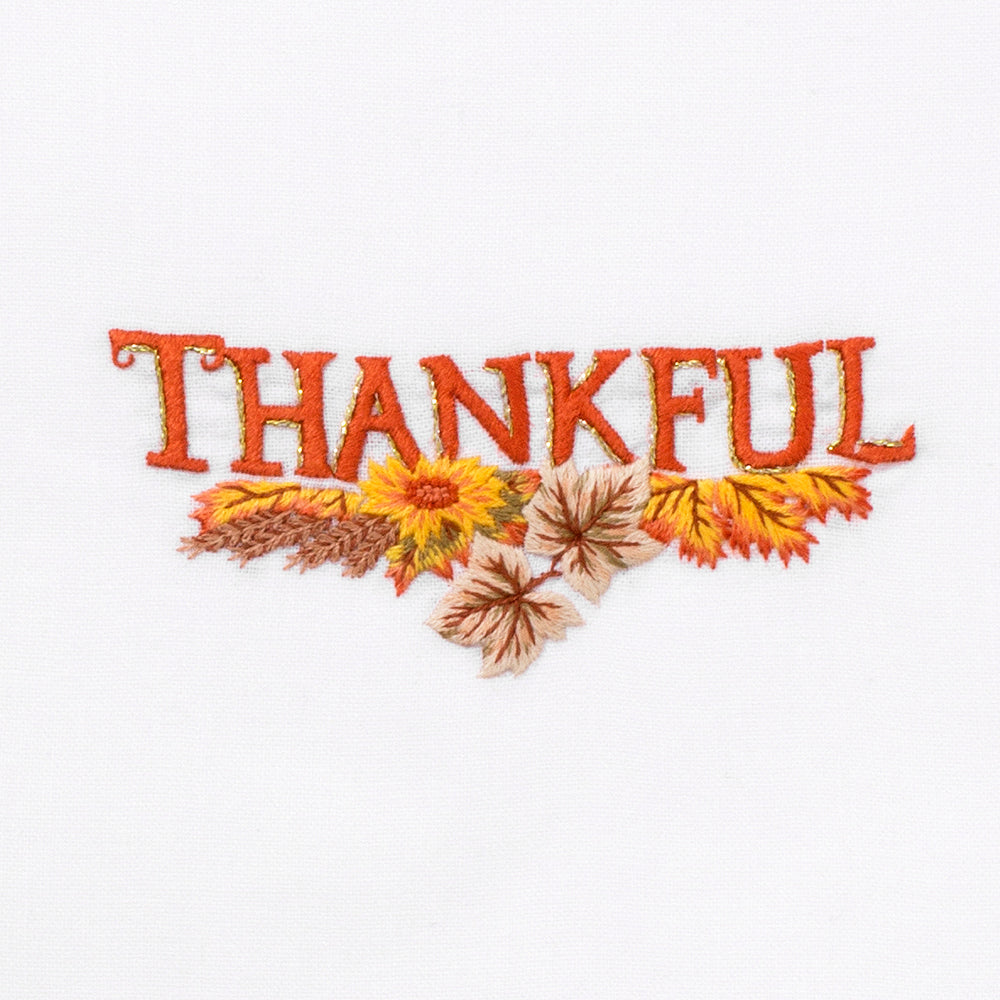Thankful<br>Hand Towel - White Cotton
