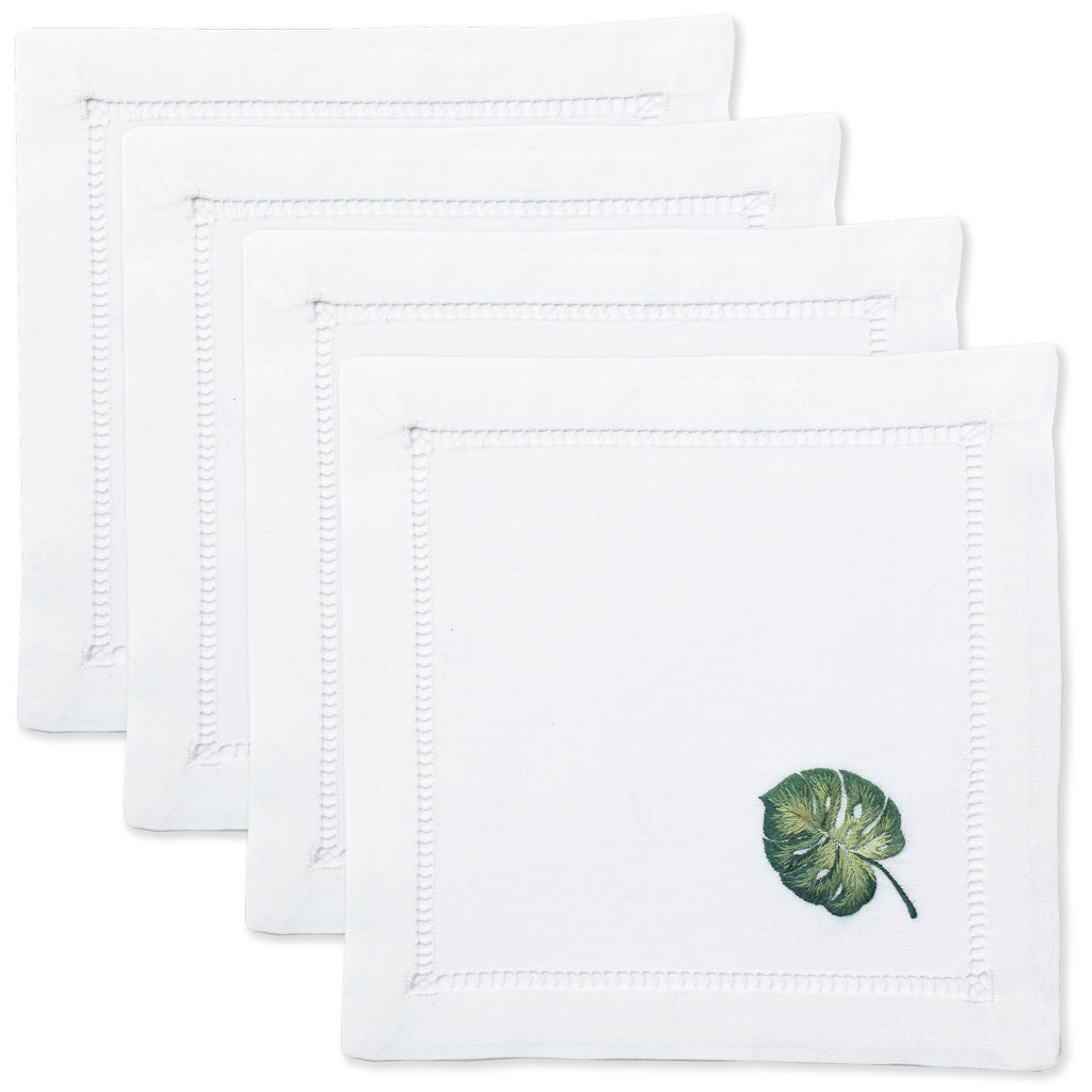 Tropical Leaf<br>Cocktail Set - White Cotton