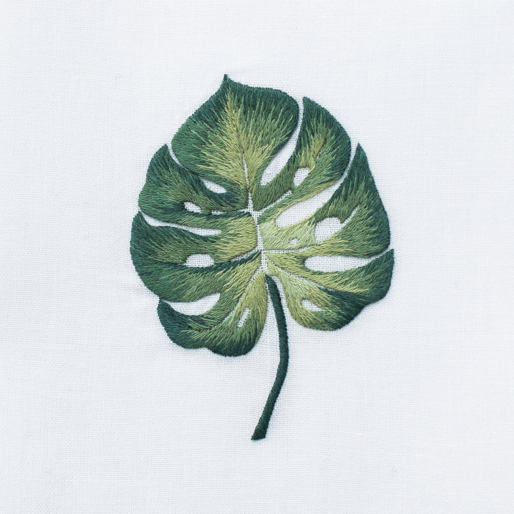 Tropical Leaf<br>Hand Towel - White Cotton