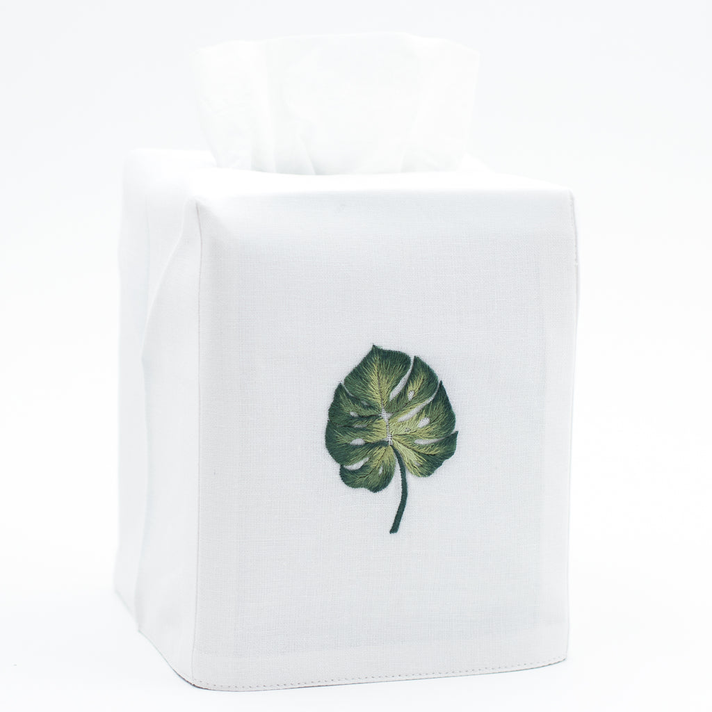 Tropical Leaf<br>Tissue Box Cover - White Cotton