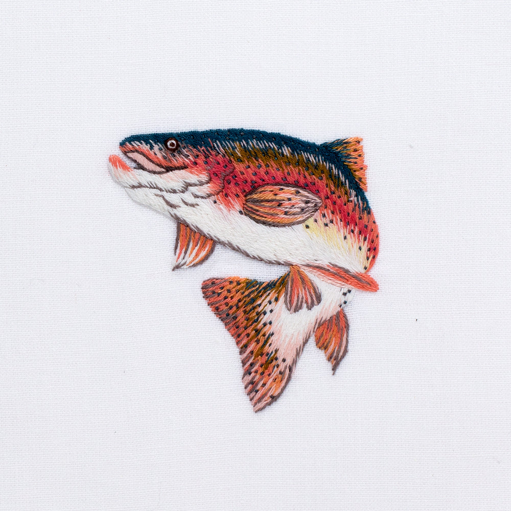 Trout Jump<br>Hand Towel - White Cotton