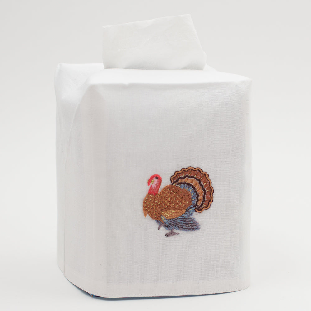 Turkey Gold<br>Tissue Box Cover - White Cotton