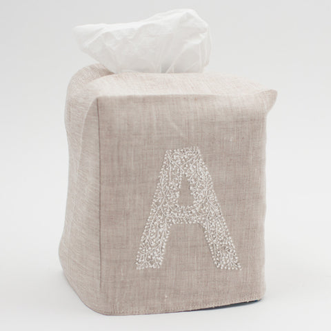Monogram Twig<br>Tissue Box Cover<br>Natural Linen