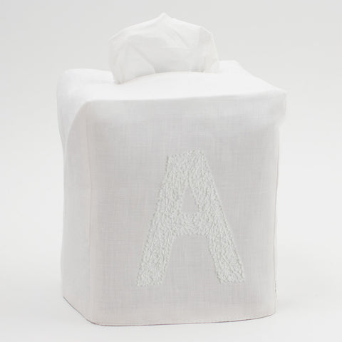 Monogram Twig<br>Tissue Box Cover<br>White Linen