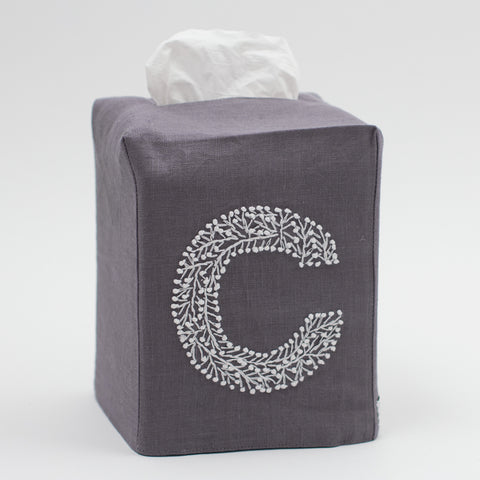 Monogram Twig<br>Tissue Box Cover<br>Charcoal Linen