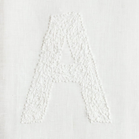 Monogram Twig<br>Hand Towel<br>White Linen