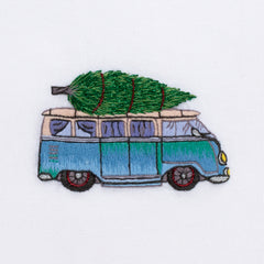 VW Bus Tree<br>Hand Towel - White Cotton