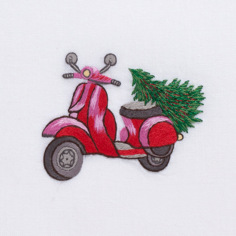 Vespa Tree<br>Hand Towel - White Cotton