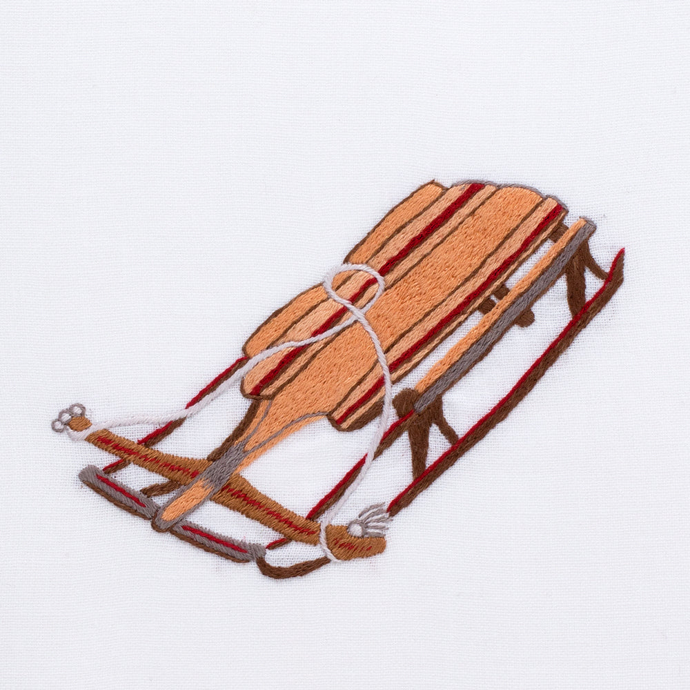 Vintage Sled<br>Hand Towel - White Cotton