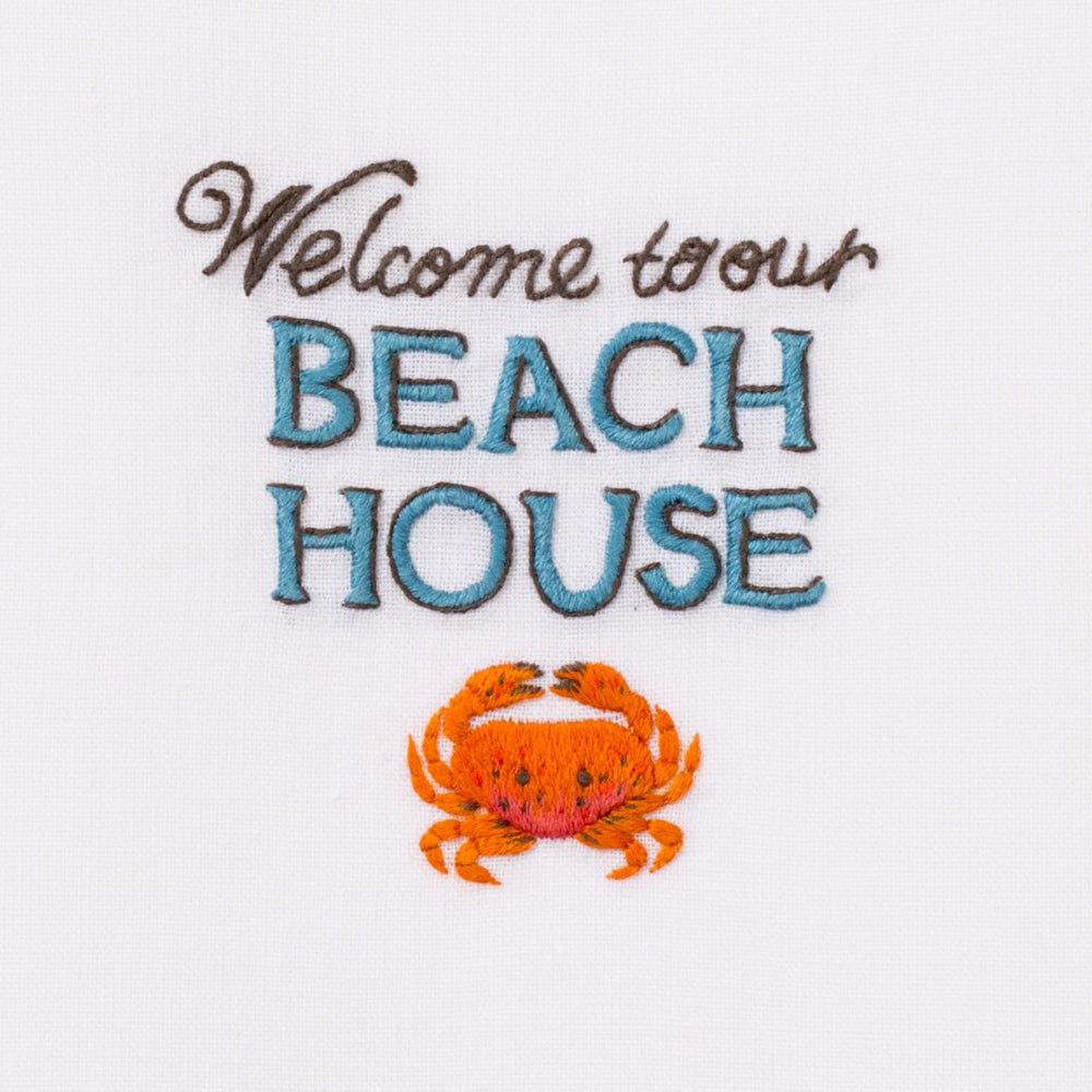 Welcome to Our Beach House<br>Everyday Towel - White Cotton
