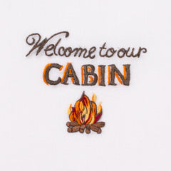 Welcome to Our Cabin<br>Everyday Towel - White Cotton