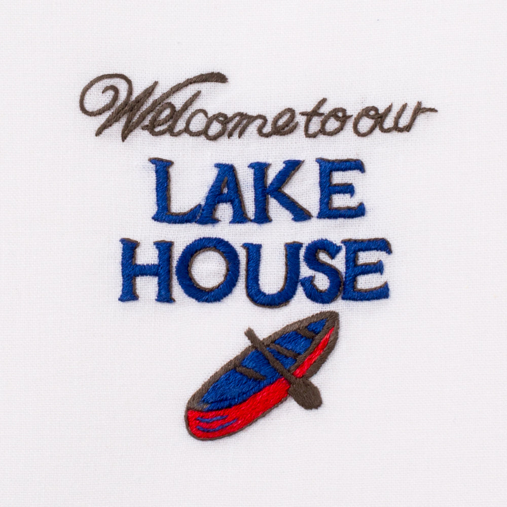 Welcome to Our Lake House<br>Everyday Towel - White Cotton