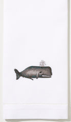 Whale<br>Hand Towel - White Cotton