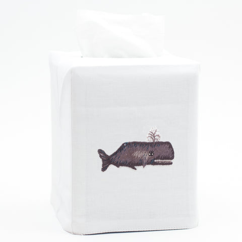 Whale<br>Tissue Box Cover - White Cotton